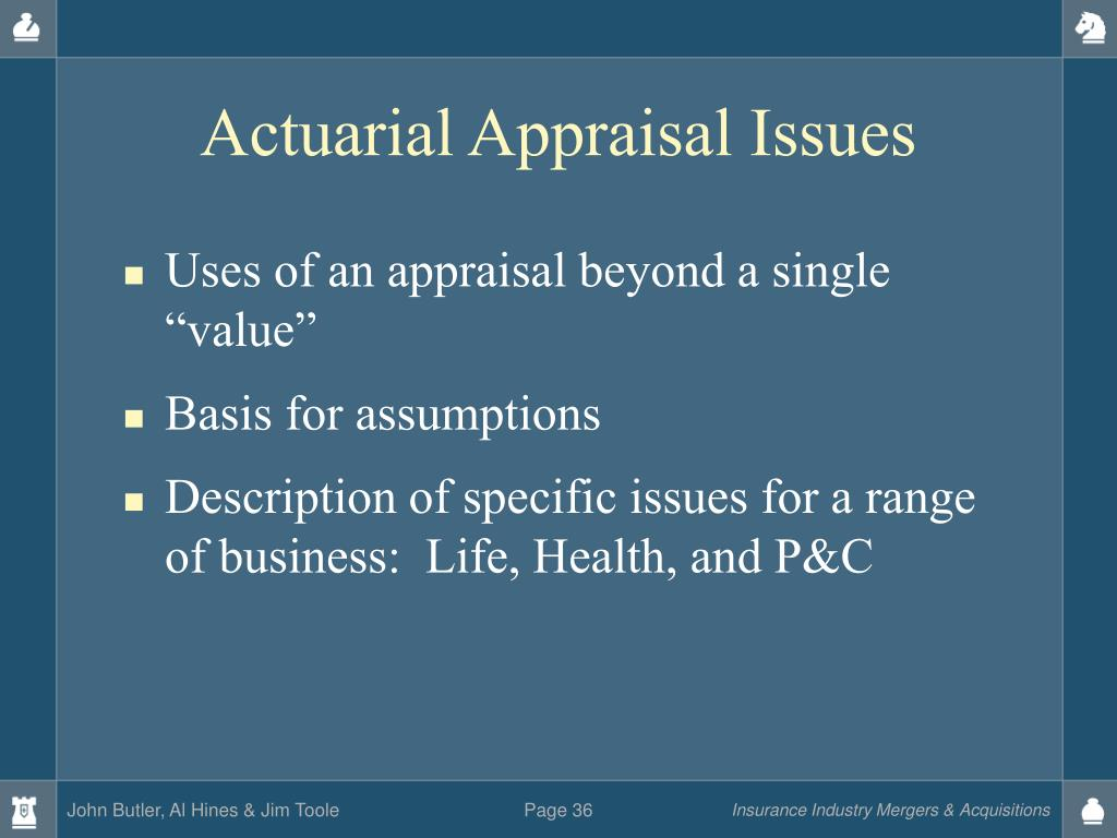 Actuarial Appraisal Issues