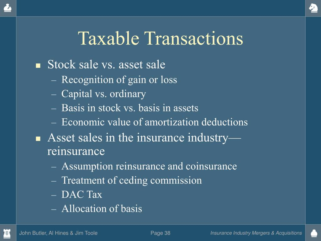 Taxable Transactions