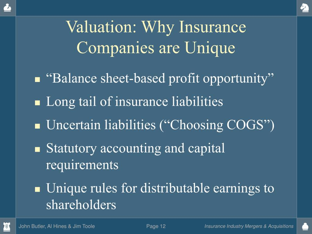 Valuation: Why Insurance Companies are Unique