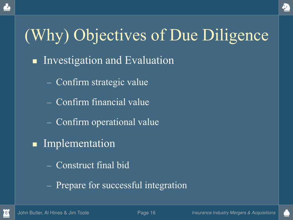 (Why) Objectives of Due Diligence