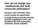 how can we engage new constituencies and build community participation