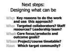next steps designing what can be