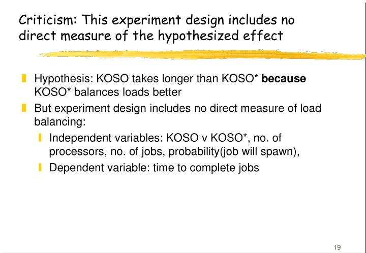 Criticism: This experiment design includes no direct measure of the hypothesized effect