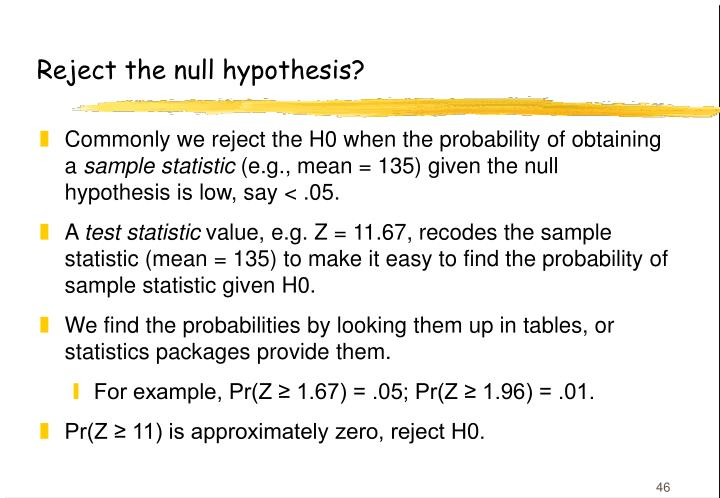 Reject the null hypothesis?
