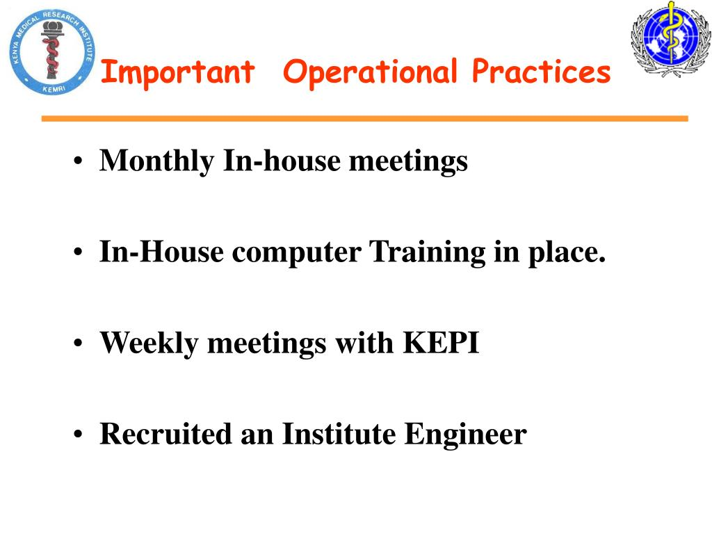 Important  Operational Practices