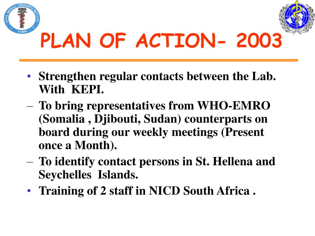 PLAN OF ACTION- 2003