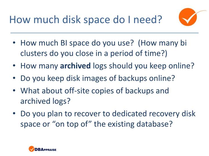 How much disk space do I need?