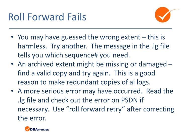 Roll Forward Fails