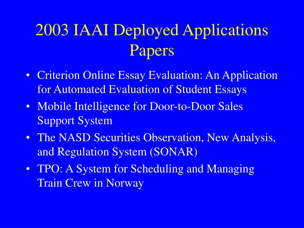 2003 IAAI Deployed Applications Papers