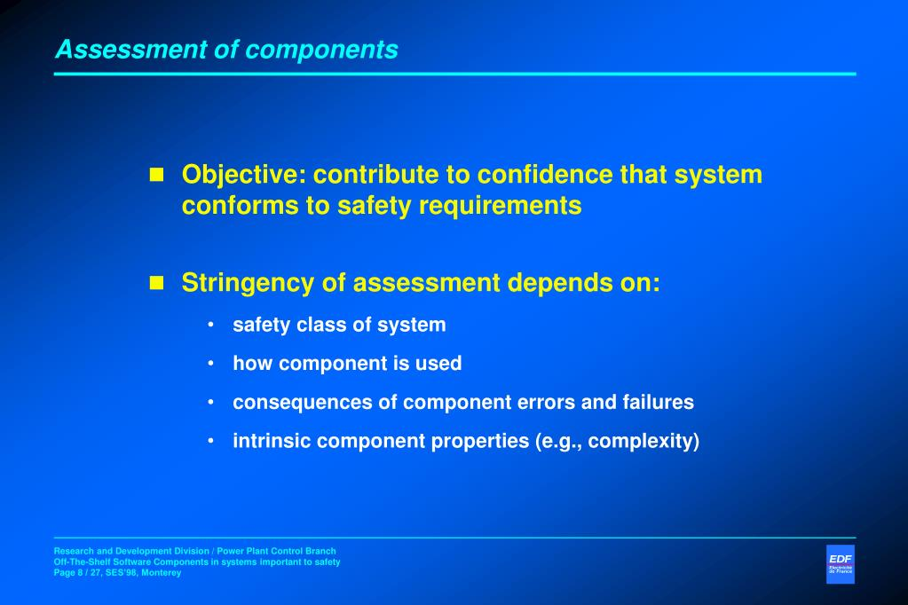 Assessment of components