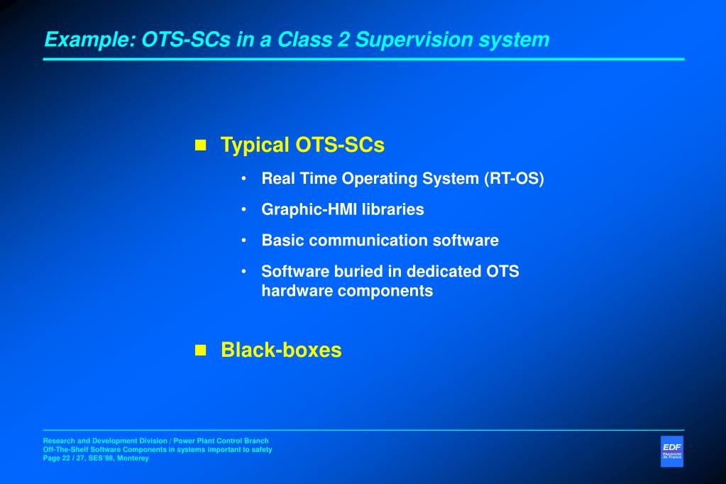 Example: OTS-SCs in a Class 2 Supervision system