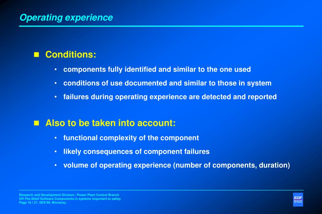 Operating experience
