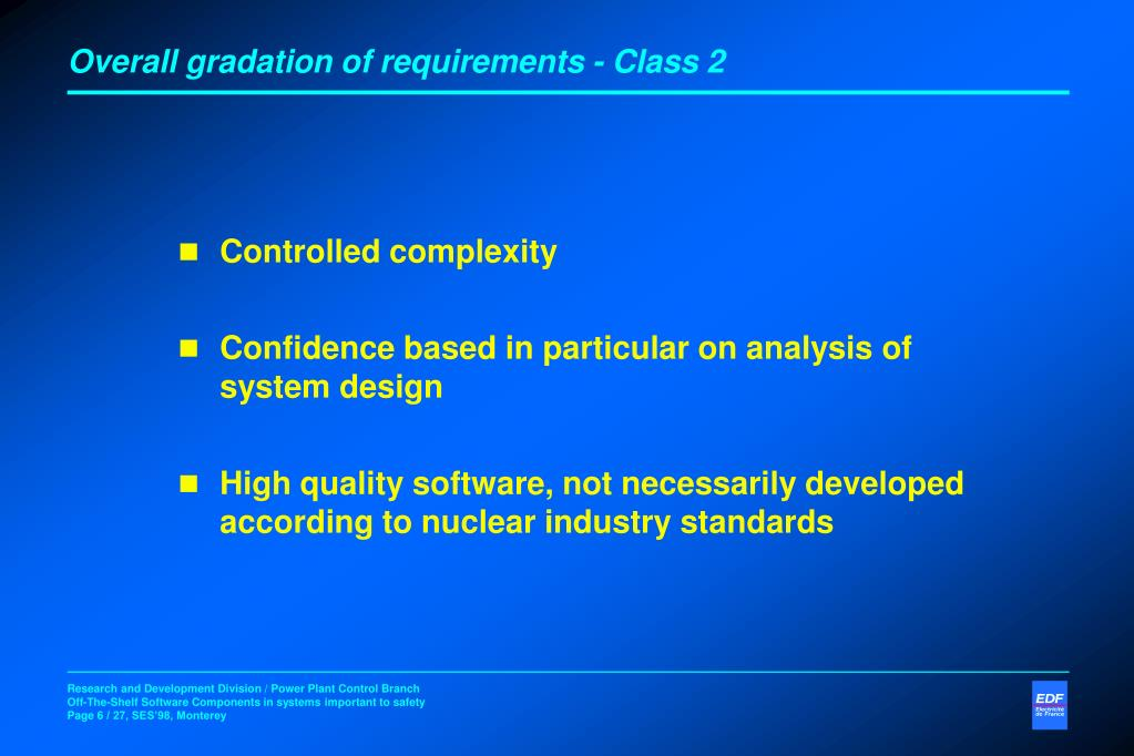 Overall gradation of requirements - Class 2