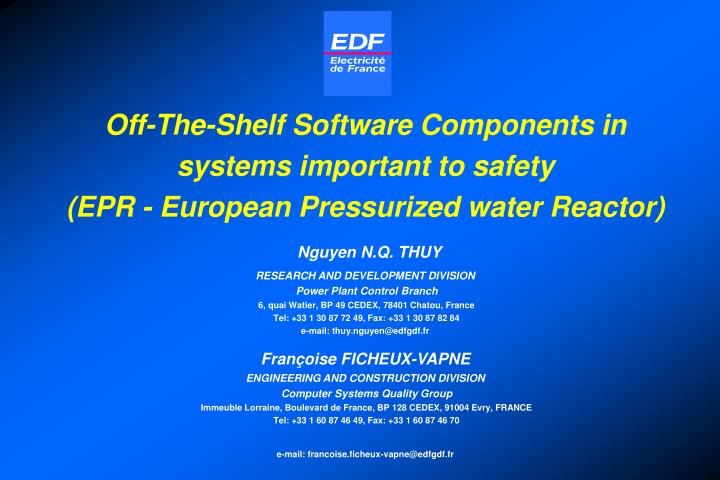 Off-The-Shelf Software Components in systems important to safety