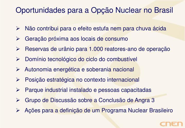 Oportunidades para a Opção Nuclear no Brasil