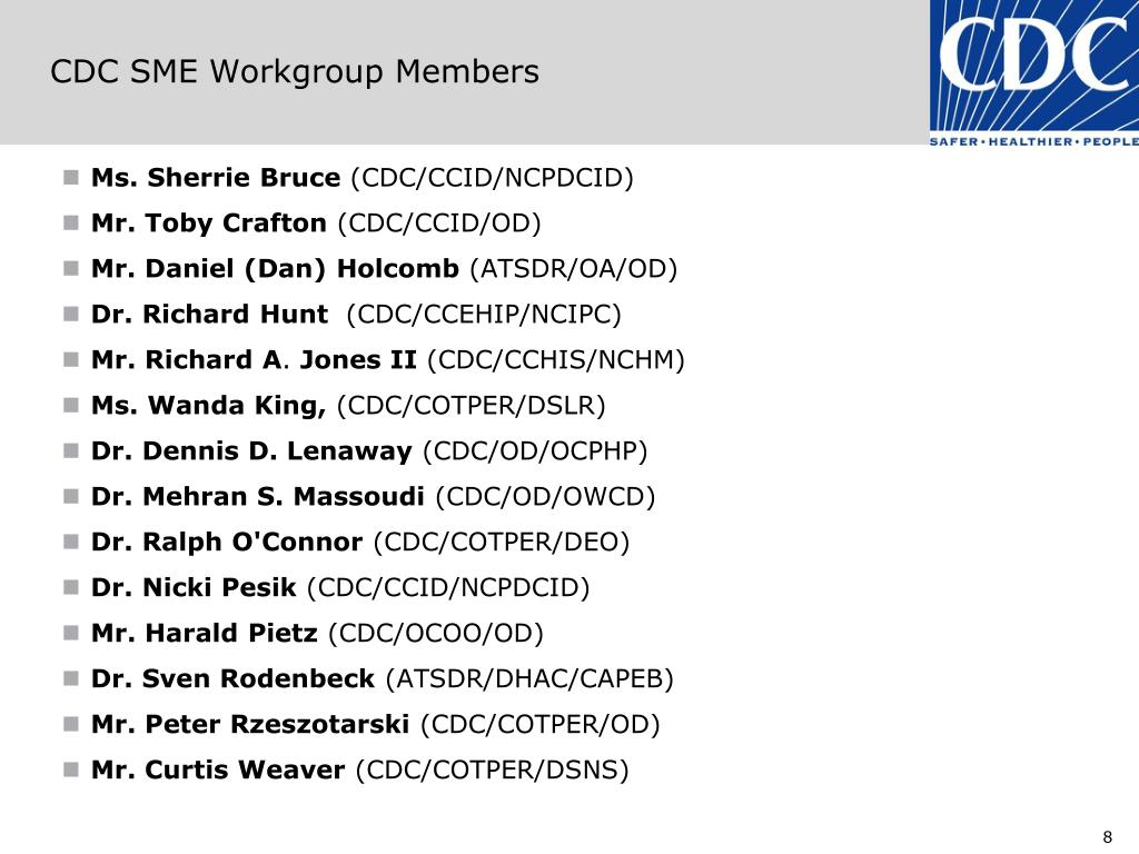 CDC SME Workgroup Members