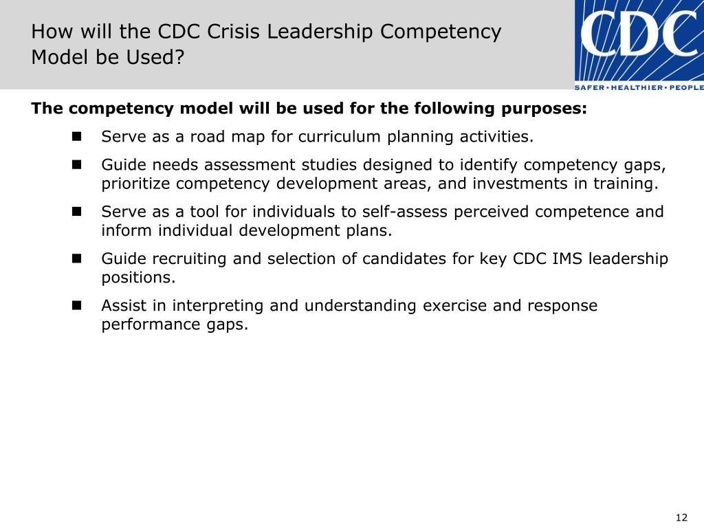 How will the CDC Crisis Leadership Competency Model be Used?