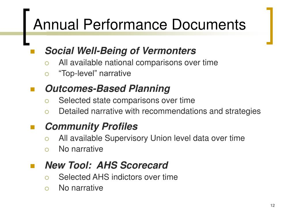Annual Performance Documents