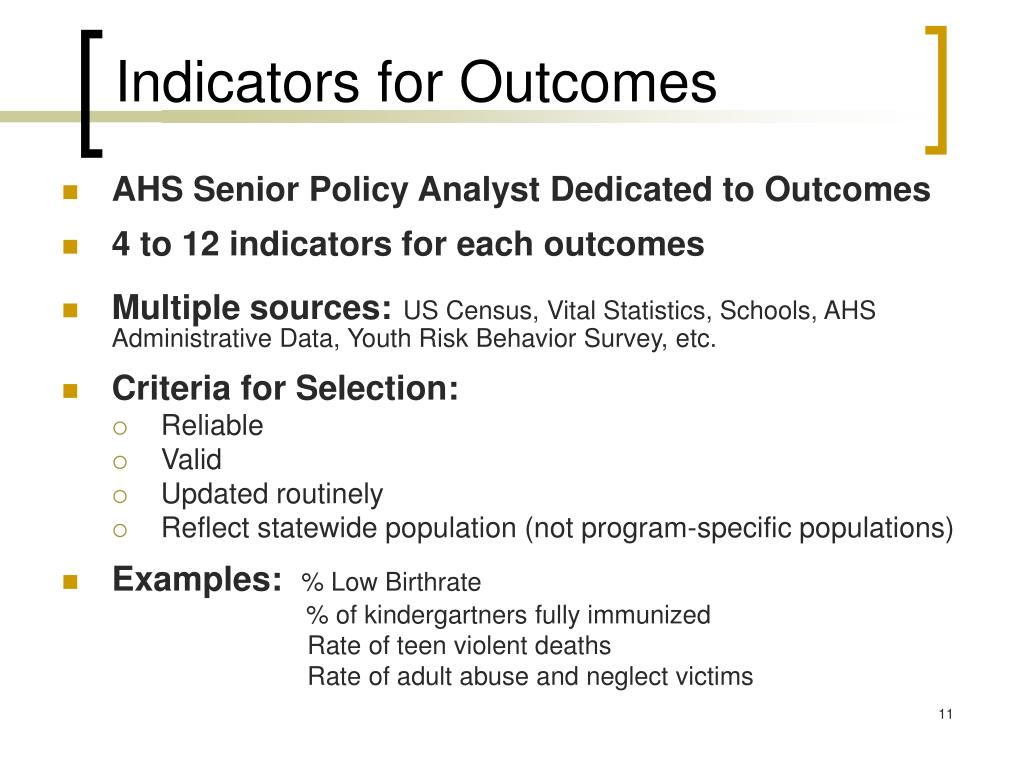 Indicators for Outcomes