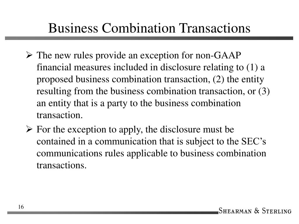 Business Combination Transactions