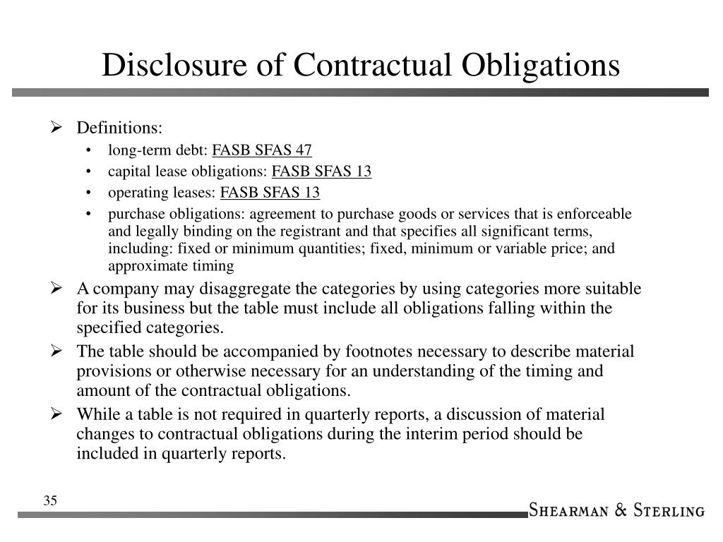 Disclosure of Contractual Obligations