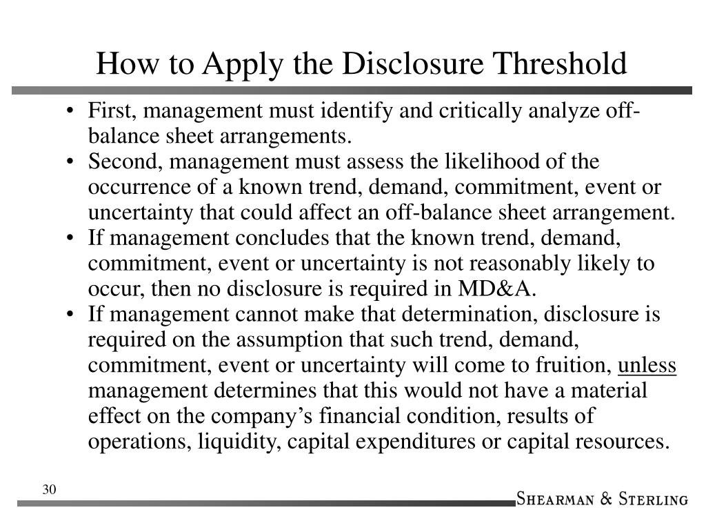 How to Apply the Disclosure Threshold