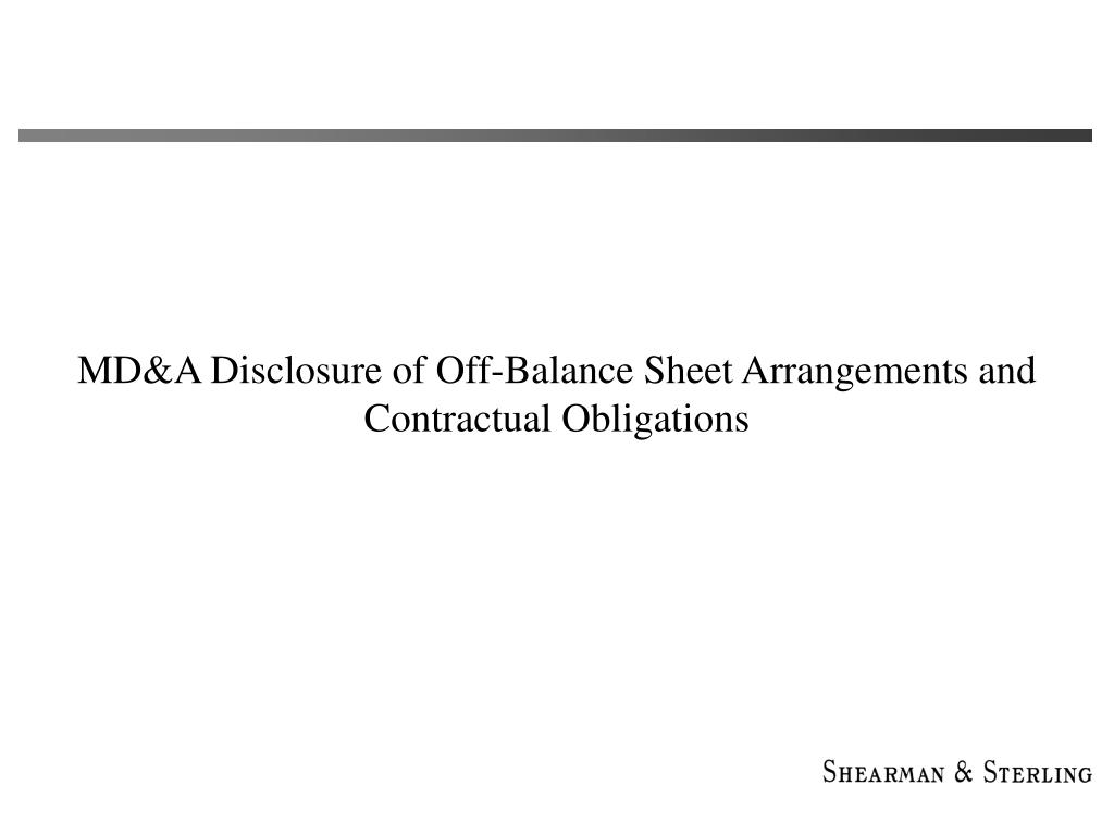 MD&A Disclosure of Off-Balance Sheet Arrangements and Contractual Obligations