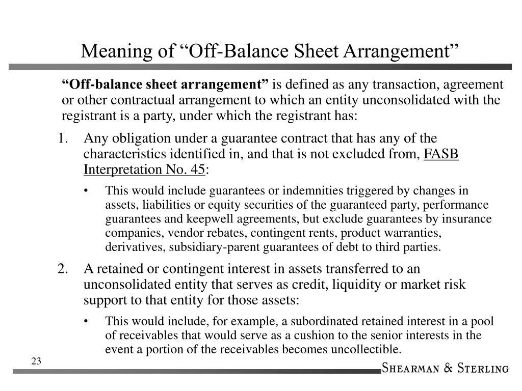 """Meaning of """"Off-Balance Sheet Arrangement"""""""