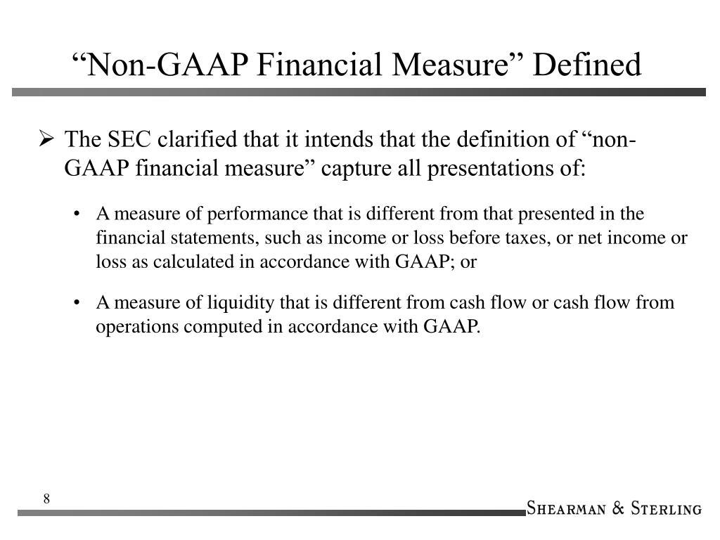 """""""Non-GAAP Financial Measure"""" Defined"""