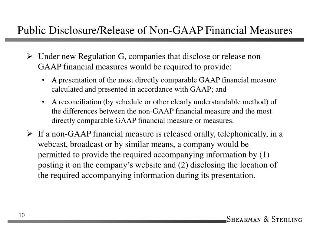 Public Disclosure/Release of Non-GAAP Financial Measures