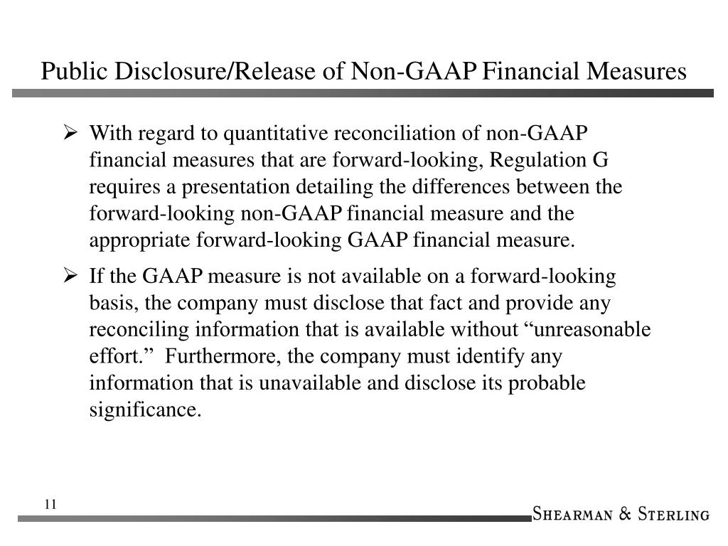 Public Disclosure/Release of Non-GAAP Financial Measures
