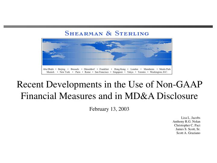 Recent developments in the use of non gaap financial measures and in md a disclosure