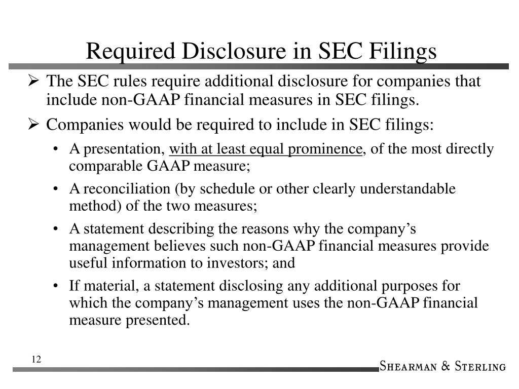 Required Disclosure in SEC Filings