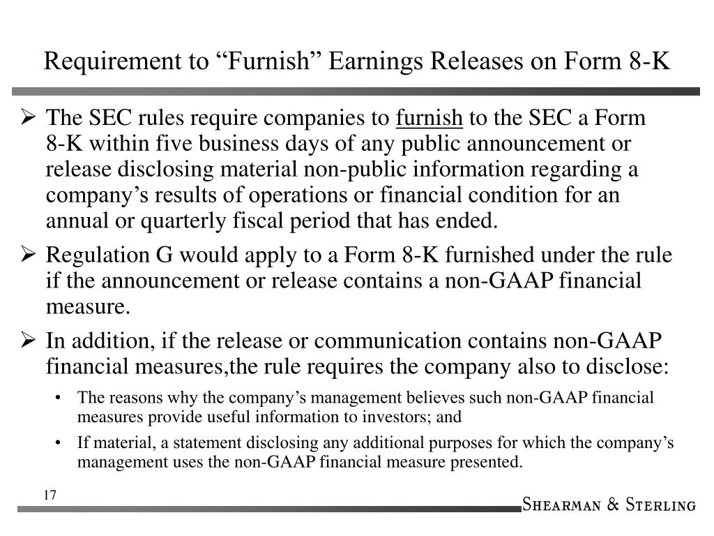 """Requirement to """"Furnish"""" Earnings Releases on Form 8-K"""