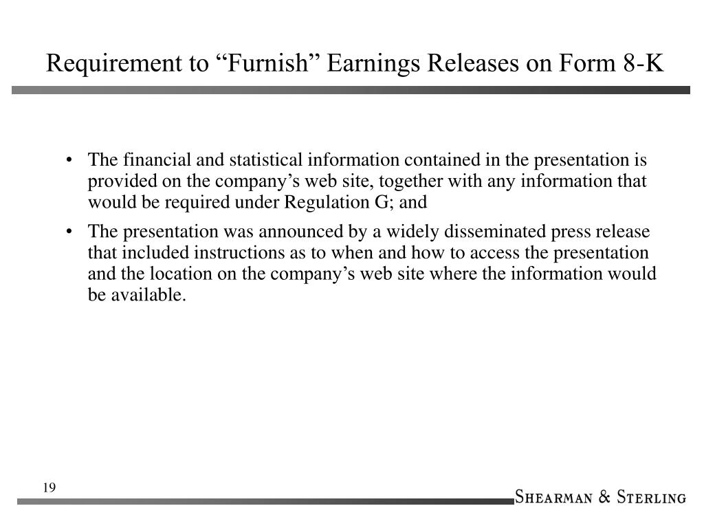 "Requirement to ""Furnish"" Earnings Releases on Form 8-K"
