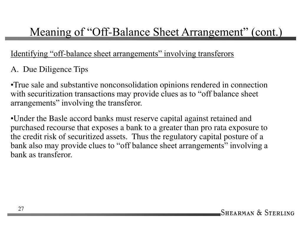 "Meaning of ""Off-Balance Sheet Arrangement"" (cont.)"