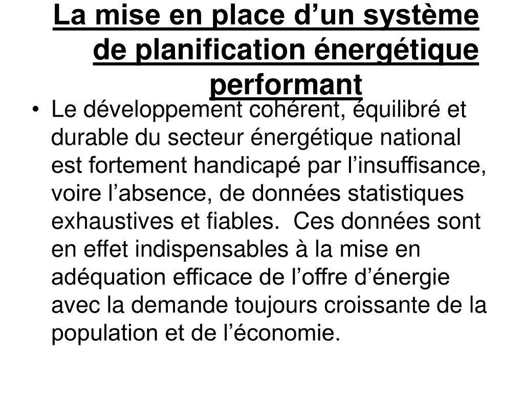 La mise en place d'un système de planification énergétique performant