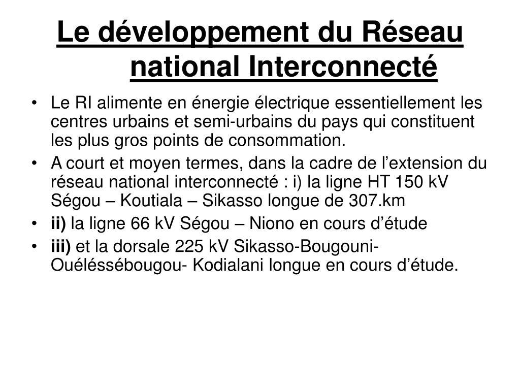 Le développement du Réseau national Interconnecté