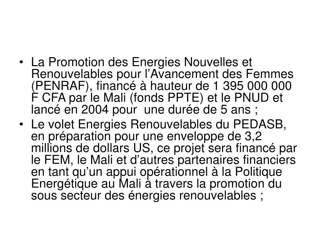 La Promotion des Energies Nouvelles et Renouvelables pour l'Avancement des Femmes (PENRAF), financé à hauteur de 1 395 000 000 F CFA par le Mali (fonds PPTE) et le PNUD et lancé en 2004 pour  une durée de 5 ans;