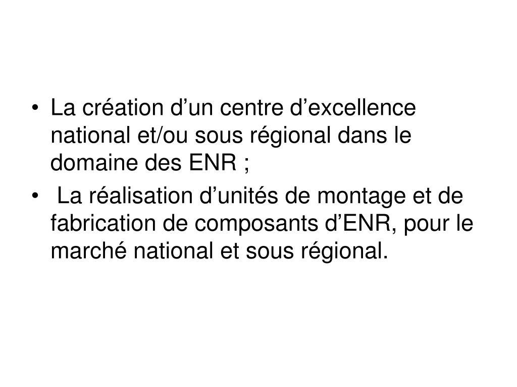 La création d'un centre d'excellence national et/ou sous régional dans le domaine des ENR;