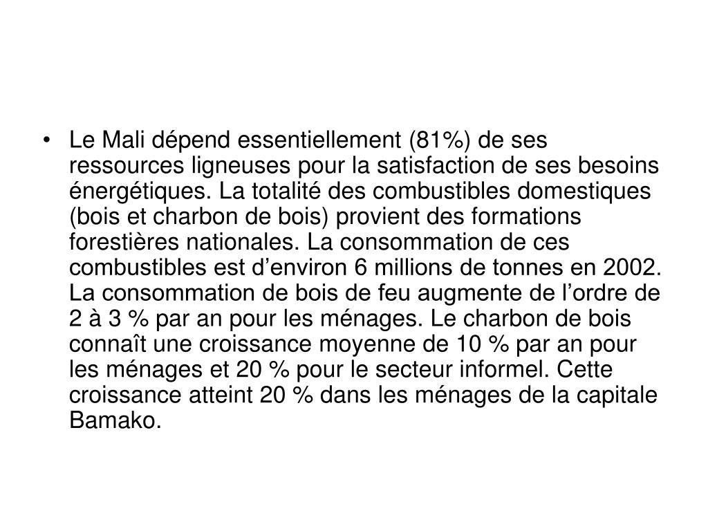 Le Mali dépend essentiellement (81%) de ses ressources ligneuses pour la satisfaction de ses besoins énergétiques. La totalité des combustibles domestiques (bois et charbon de bois) provient des formations forestières nationales. La consommation de ces combustibles est d'environ 6 millions de tonnes en 2002. La consommation de bois de feu augmente de l'ordre de 2 à 3 % par an pour les ménages. Le charbon de bois connaît une croissance moyenne de 10 % par an pour les ménages et 20 % pour le secteur informel. Cette croissance atteint 20 % dans les ménages de la capitale Bamako.