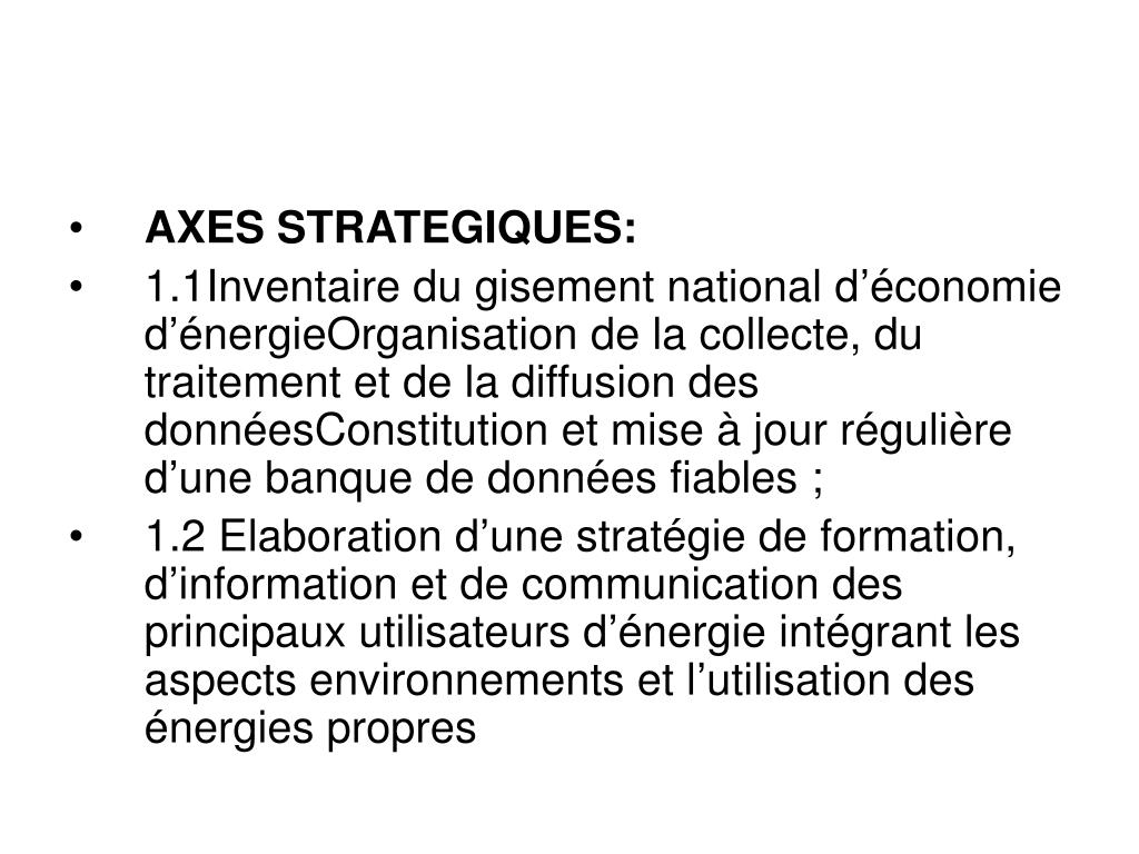 AXES STRATEGIQUES: