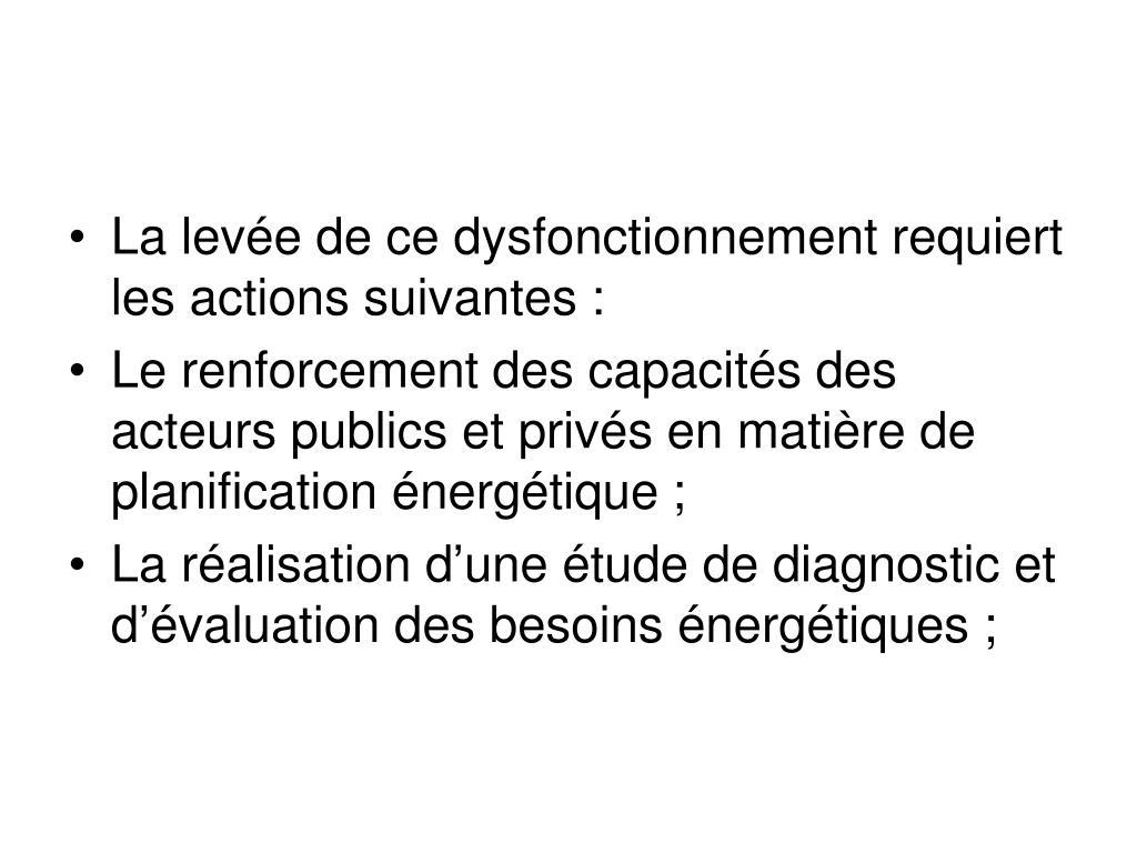 La levée de ce dysfonctionnement requiert les actions suivantes: