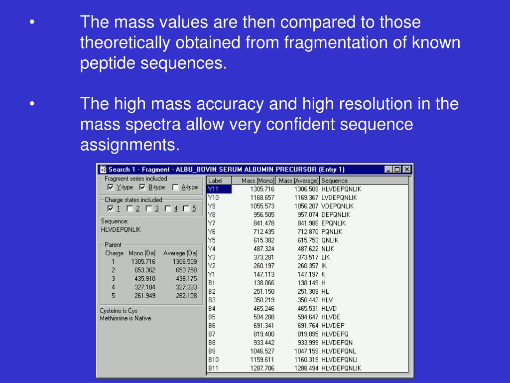 The mass values are then compared to those 		theoretically obtained from fragmentation of known 	peptide sequences.