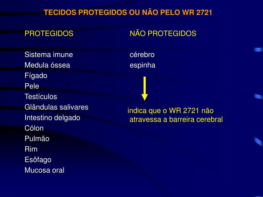 TECIDOS PROTEGIDOS OU NÃO PELO WR 2721