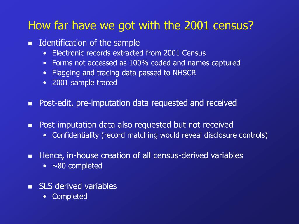 How far have we got with the 2001 census?