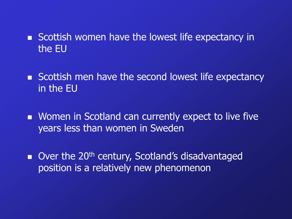 Scottish women have the lowest life expectancy in the EU