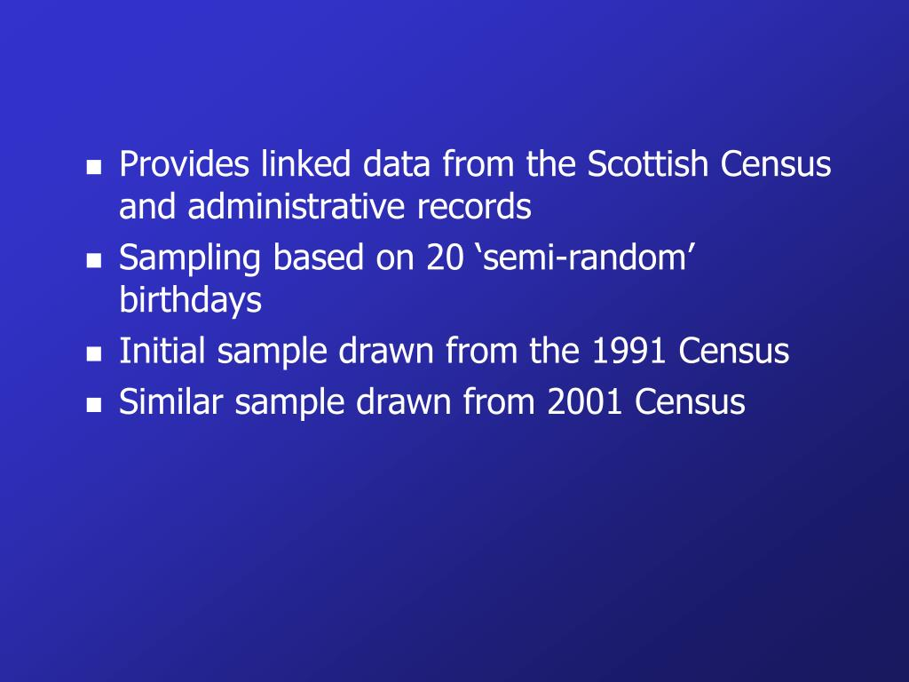 Provides linked data from the Scottish Census and administrative records
