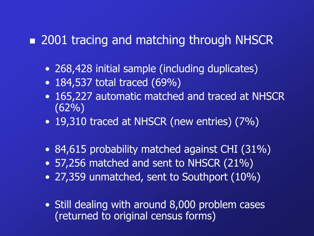2001 tracing and matching through NHSCR