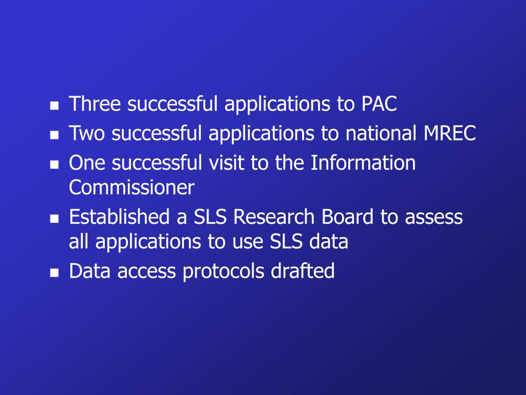 Three successful applications to PAC